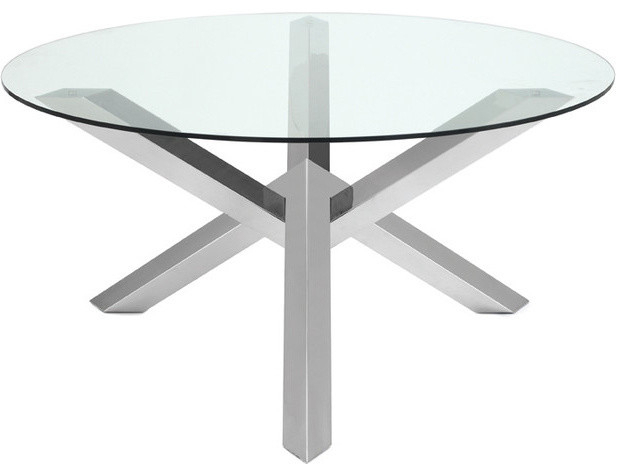 Popular Photo of Long Dining Tables With Polished Black Stainless Steel Base