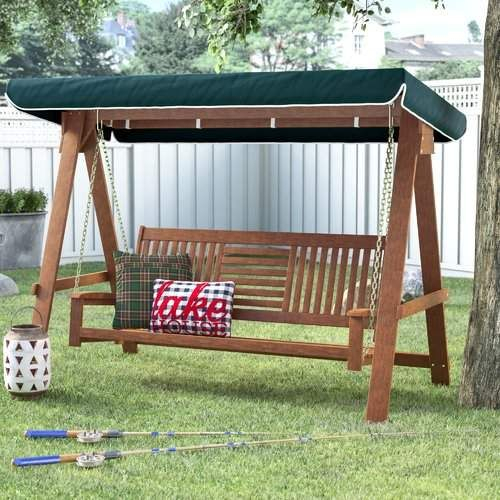Inspiration about Loon Peak Allen 3 Seater Wood Canopy Porch Swing With Stand Intended For 3 Seater Swings With Frame And Canopy (#15 of 20)
