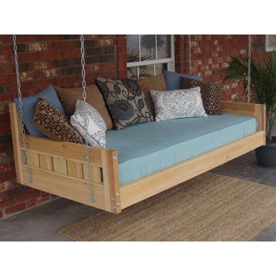 Inspiration about Loon Peak Thacker Cedar Country Style Hanging Daybed Swing Throughout Country Style Hanging Daybed Swings (#1 of 20)
