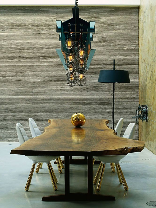 Love It! Live Edge Table Paired With Eames Style Chairs With In Famous Eames Style Dining Tables With Wooden Legs (#14 of 20)