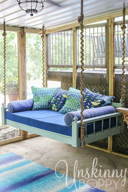 Inspiration about Love This Fun Couch Swing Daybed. They've Wrapped The Chains Pertaining To Hanging Daybed Rope Porch Swings (#3 of 20)