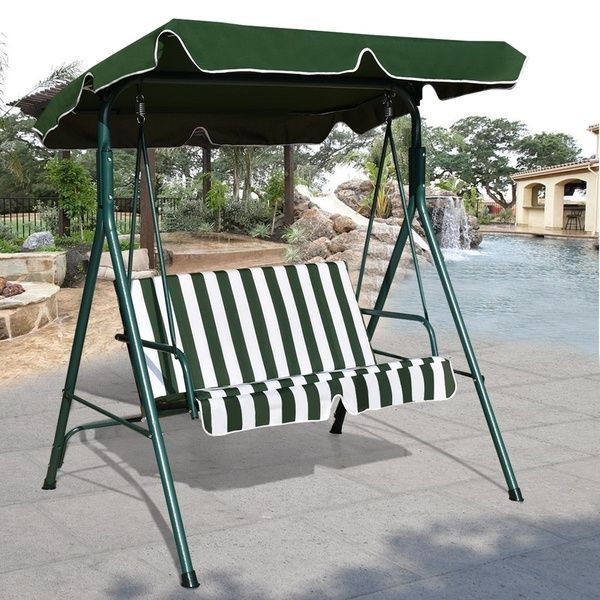Loveseat Patio Canopy Swing Glider Hammock Cushioned Steel In 3 Seats Patio Canopy Swing Gliders Hammock Cushioned Steel Frame (View 5 of 20)