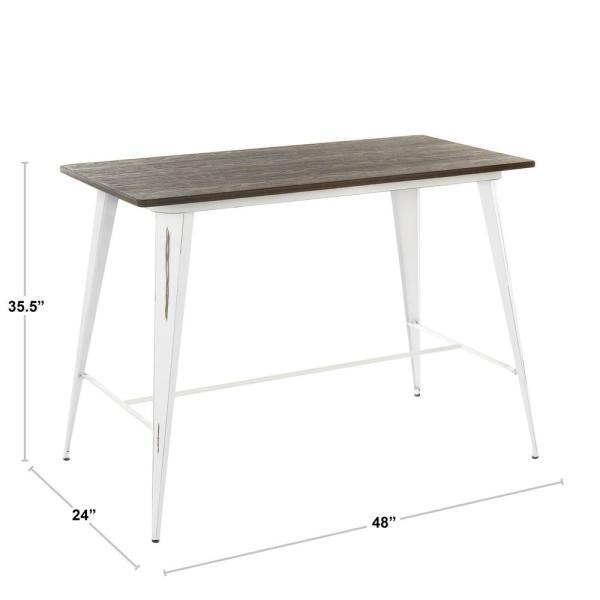 Inspiration about Lumisource Oregon Vintage Cream And Espresso Counter Height With Regard To Best And Newest Vintage Cream Frame And Espresso Bamboo Dining Tables (#2 of 20)