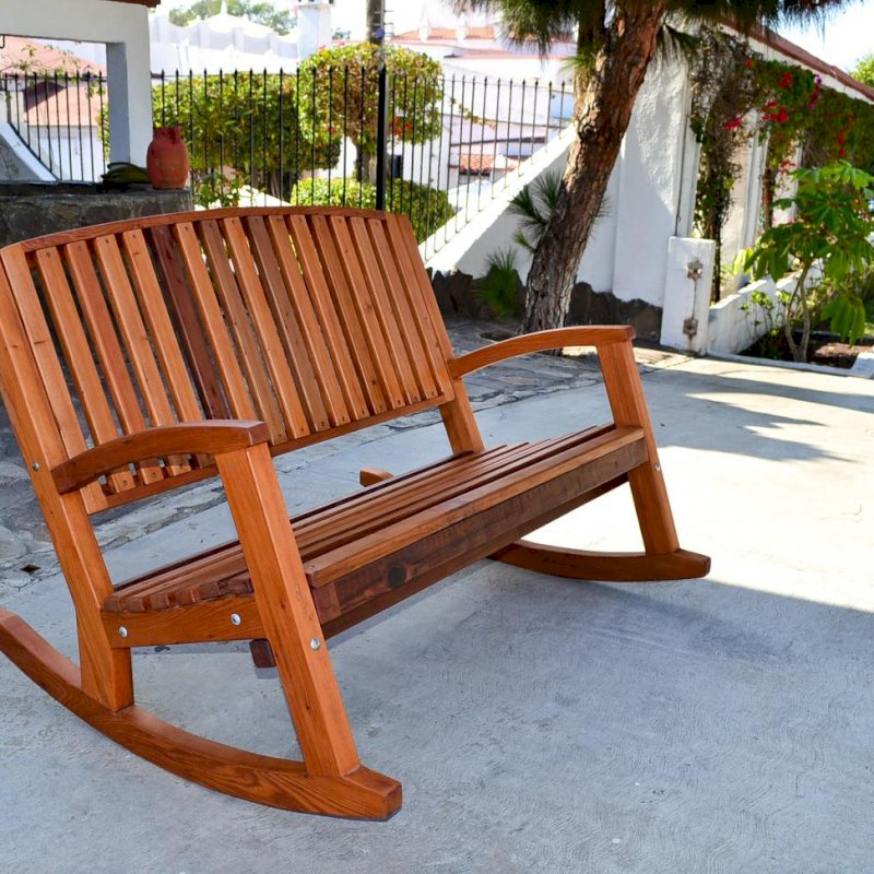 Inspiration about Luna Wood Rocking Bench Throughout Rocking Benches With Cushions (#14 of 20)