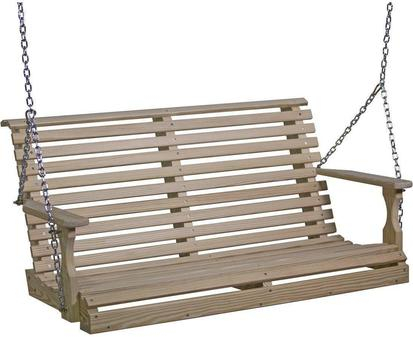 Luxcraft Rollback Pressure Treated Wood 4' Plain Swing With Plain Porch Swings (View 3 of 20)