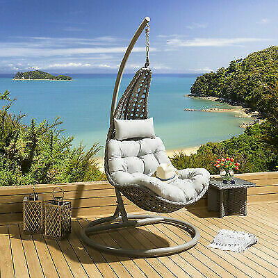 Inspiration about Luxury Outdoor Modern Garden Hanging Swing Chair Grey Rattan Cover Inc For  Sale Online | Ebay In Rattan Garden Swing Chairs (#9 of 20)
