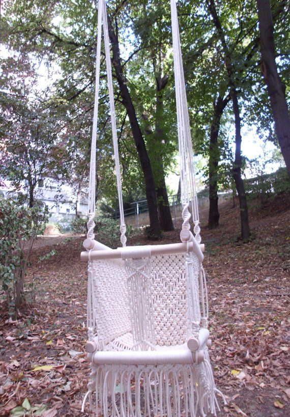 Macrame Baby Swing – Hammock Swing Made From Cotton Rope In Inside Cotton Porch Swings (View 10 of 20)