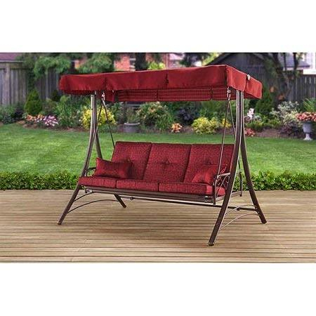 Mainstay Patio Canopy Metal Porch Swing 3 Seat Solid Print Callimont Park  In Red For Porch Swings With Canopy (#8 of 20)