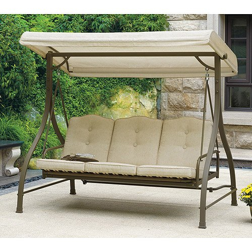 Mainstays 3 Seat Porch & Patio Swing, Tan For Canopy Patio Porch Swing With Stand (View 18 of 20)