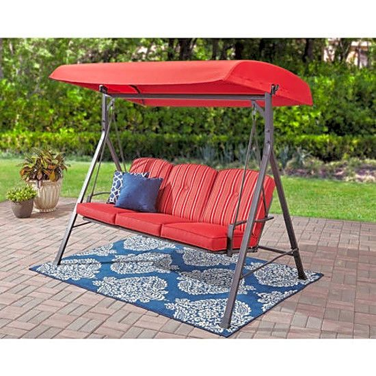 Mainstays Forest Hills 3 Seat Cushion Swing Red Easy Intended For 3 Person Red With Brown Powder Coated Frame Steel Outdoor Swings (View 4 of 20)