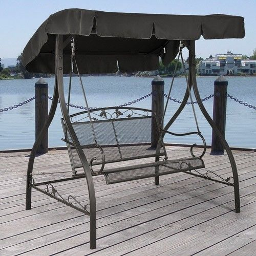 Mainstays Jefferson Wrought Iron 2 Person Outdoor Canopy Porch Swing Throughout Porch Swings With Canopy (#9 of 20)