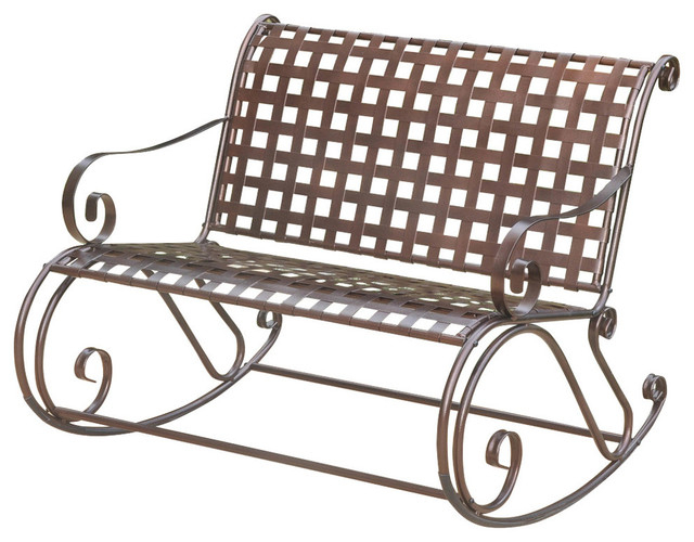 Mandalay Lattice Iron Double Rocker Bench, Hammered Bronze With 2 Person Hammered Bronze Iron Outdoor Swings (View 7 of 20)