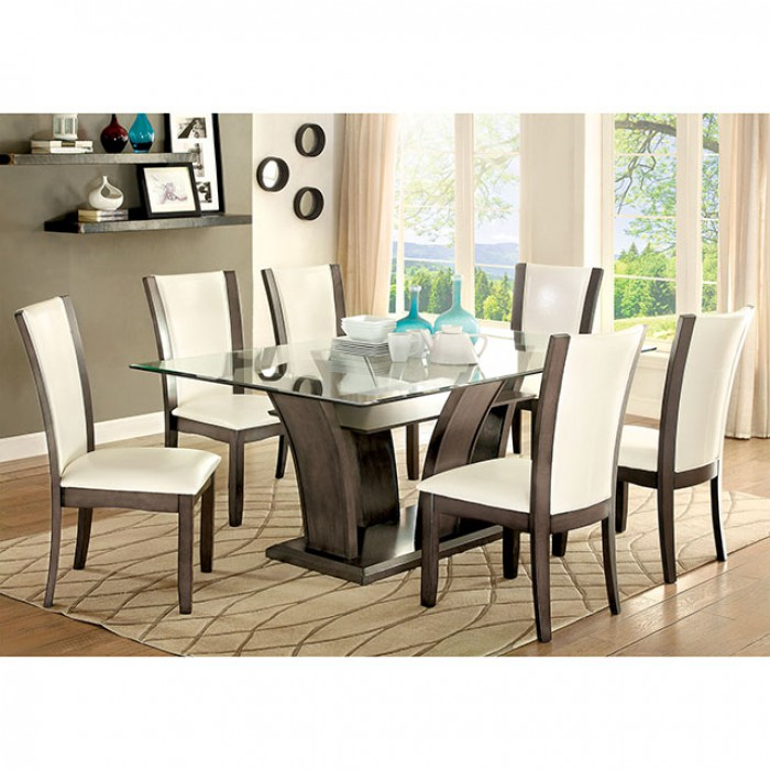 Manhattan Transitional Gray Rectangular Table Set With Most Recent Transitional Rectangular Dining Tables (View 15 of 20)
