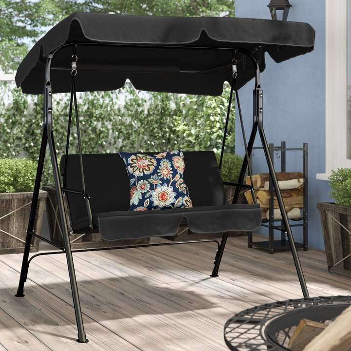 Popular Photo of Patio Loveseat Canopy Hammock Porch Swings With Stand