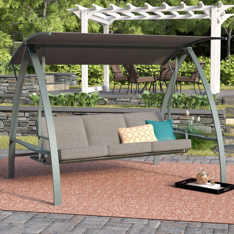 Marquette 3 Seat Daybed Porch Swing With Stand | Outdoor In Outdoor Pvc Coated Polyester Porch Swings With Stand (View 16 of 20)