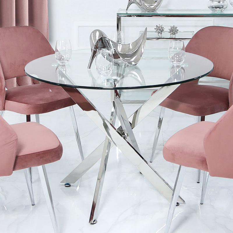 Medium Dining Tables Intended For 2019 Aurelia Chrome And Glass Round Medium Dining Table (View 18 of 20)