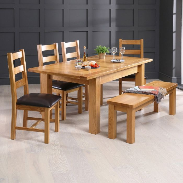 Medium Dining Tables With 2019 Solid Oak Medium Extending Dining Table + Bench + 4 Ladder Back Chair Set (View 2 of 20)
