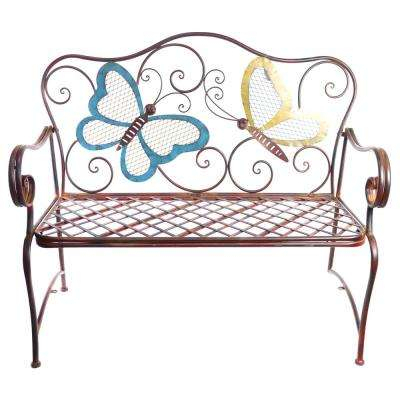 Metal Colored Butterflies Garden Bench Intended For 2 Person Antique Black Iron Outdoor Swings (#7 of 20)