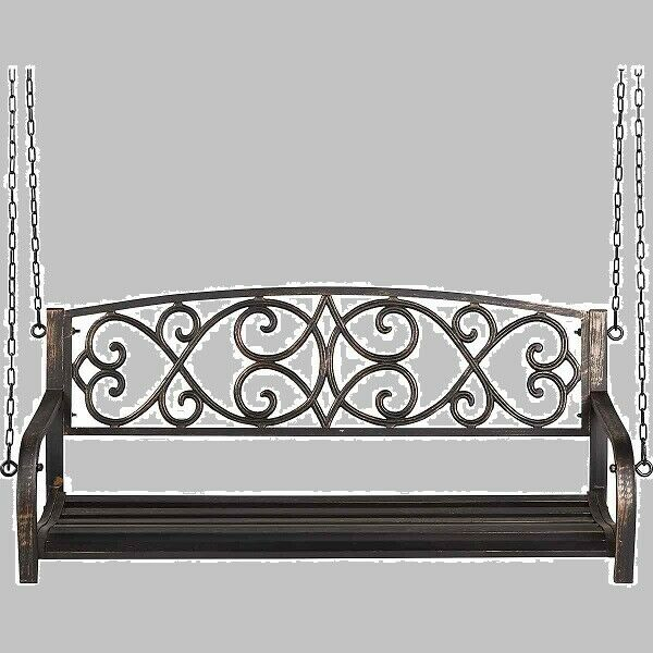 Metal Swing 2 Person Black Patio Porch Deck Outdoor Steel Within 2 Person Antique Black Iron Outdoor Gliders (#10 of 20)