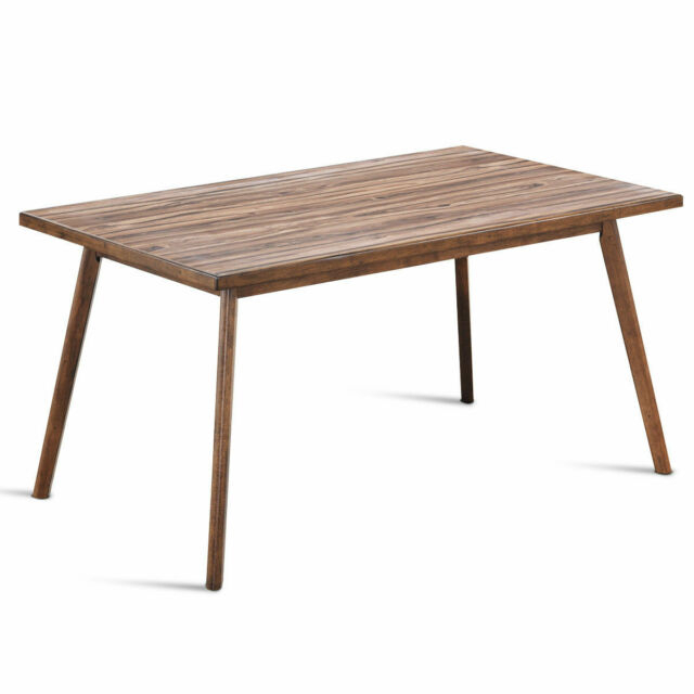 Popular Photo of Mid Century Rectangular Top Dining Tables With Wood Legs
