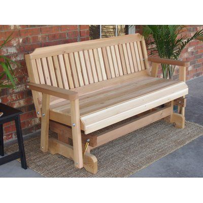 Millwood Pines Courtney Cedar Glider Bench Finish: Stained Inside Cedar Colonial Style Glider Benches (View 3 of 20)