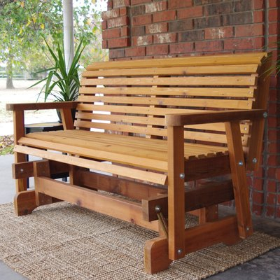 Millwood Pines Jessica Cedar Glider Bench Finish: Stained Inside Cedar Colonial Style Glider Benches (View 11 of 20)