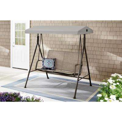 Mix And Match 2 Person Steel Sling Dark Taupe Outdoor Patio Swing In Taupe With 2 Person Hammered Bronze Iron Outdoor Swings (View 15 of 20)