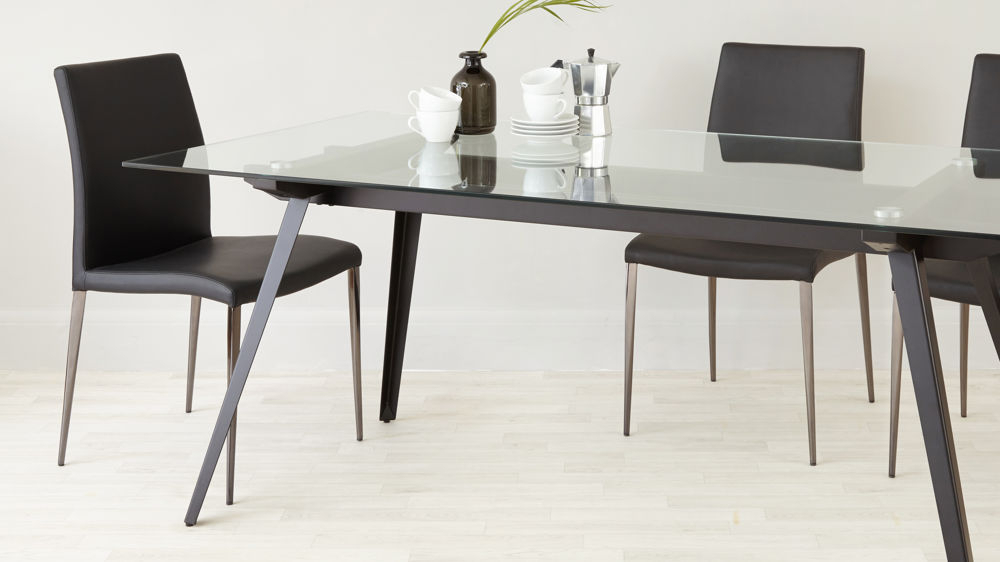 Modern Glass Top Extension Dining Tables In Matte Black For Newest Neo 6 To 8 Seater Glass Dining Table (#11 of 20)
