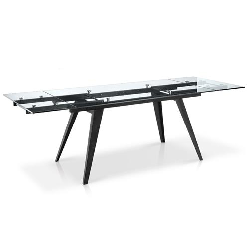 Popular Photo of Modern Glass Top Extension Dining Tables In Matte Black