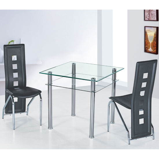 Modern Glass Top Extension Dining Tables In Matte Black With Regard To Trendy Como Glass Dining Table With 2 Siena Dining Chairs (#15 of 20)