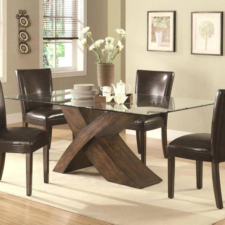 Modern Glass Top Extension Dining Tables In Matte Black With Widely Used Black Brown Dining Table Set Room Modern Rectangular Glass (#16 of 20)