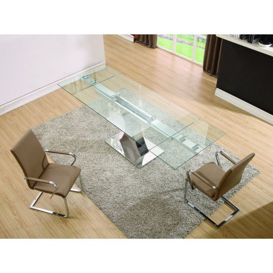 Modern Glass Top Extension Dining Tables In Stainless For Newest Modern Home Furniture Glass Top Stainless Steel Dining Table (#14 of 20)