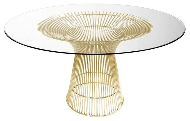 Modern Gold Dining Tables With Clear Glass For Most Recent Charlize Glass Round Dining Table Wire Base, Gold (#10 of 21)
