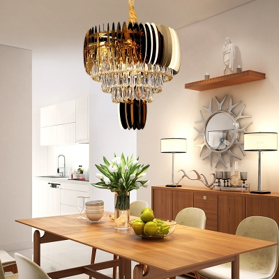 Modern Gold Dining Tables With Clear Glass Pertaining To Widely Used Modern Style Drum Hanging Light Clear Glass Gold Finish Chandelier For (#12 of 21)