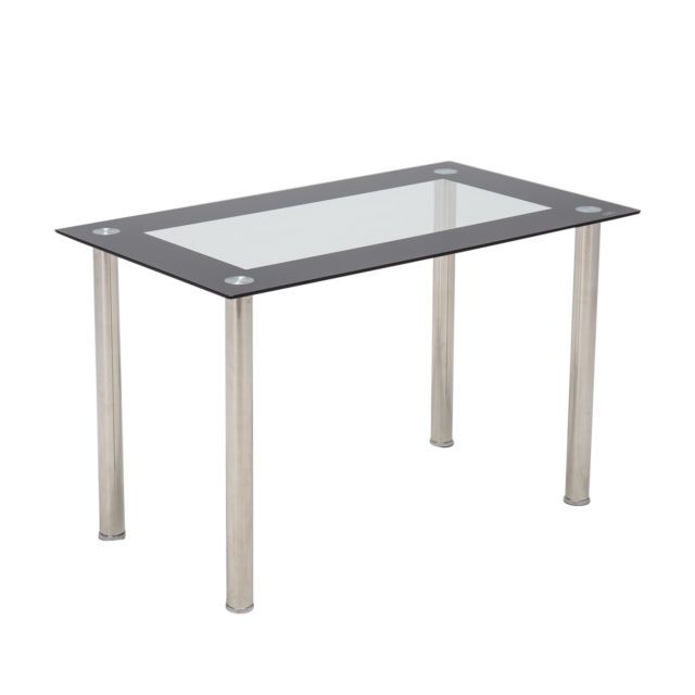 """Modern Gold Dining Tables With Clear Glass Regarding Most Recently Released 48""""x28""""glass Dining Table W/metal Legs Kitchen Breakfast Dining Room  Furniture (#13 of 21)"""