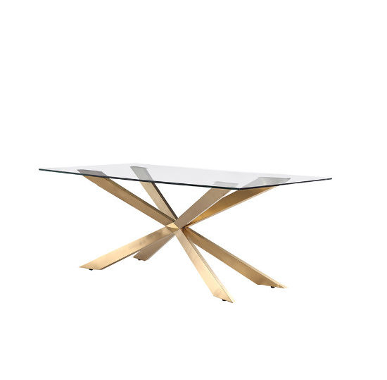 Modern Gold Dining Tables With Clear Glass Throughout Well Known Modern Stainless Steel Cross Legs Gold Rectangle Clear Glass (#14 of 21)