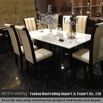 Modern Nature White Marble Top Stainless Steel Dining Table  (#10 of 20)