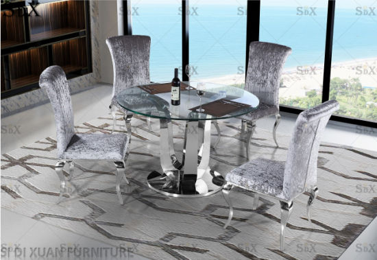 Modern Round Glass Top Table Set Stainless Steel Base Dining Room Furniture  Table With Regard To Recent Modern Round Glass Top Dining Tables (#8 of 20)