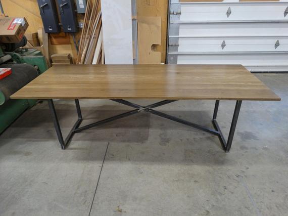 Modern Rustic Fumed Oak Dining Table With A Blackened Steel Base Inside Most Popular Fumed Oak Dining Tables (#11 of 20)