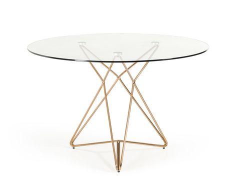 Modrest Ashland Modern Glass Round Dining Table In 2019 With Latest Modern Gold Dining Tables With Clear Glass (#15 of 21)