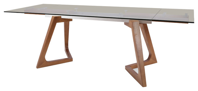 Modrest Ruthie Modern Smoked Glass And Walnut Extendable Dining Table In Well Liked Dining Tables In Smoked/seared Oak (#12 of 20)