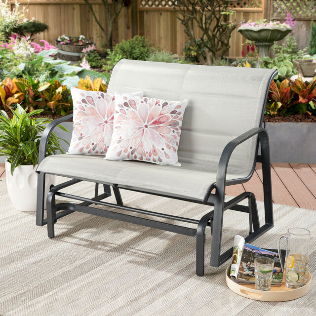 Montrose Padded Sling Glider Bench Outdoor Garden Patio Porch Furniture Chair Inside Padded Sling Double Glider Benches (View 14 of 20)