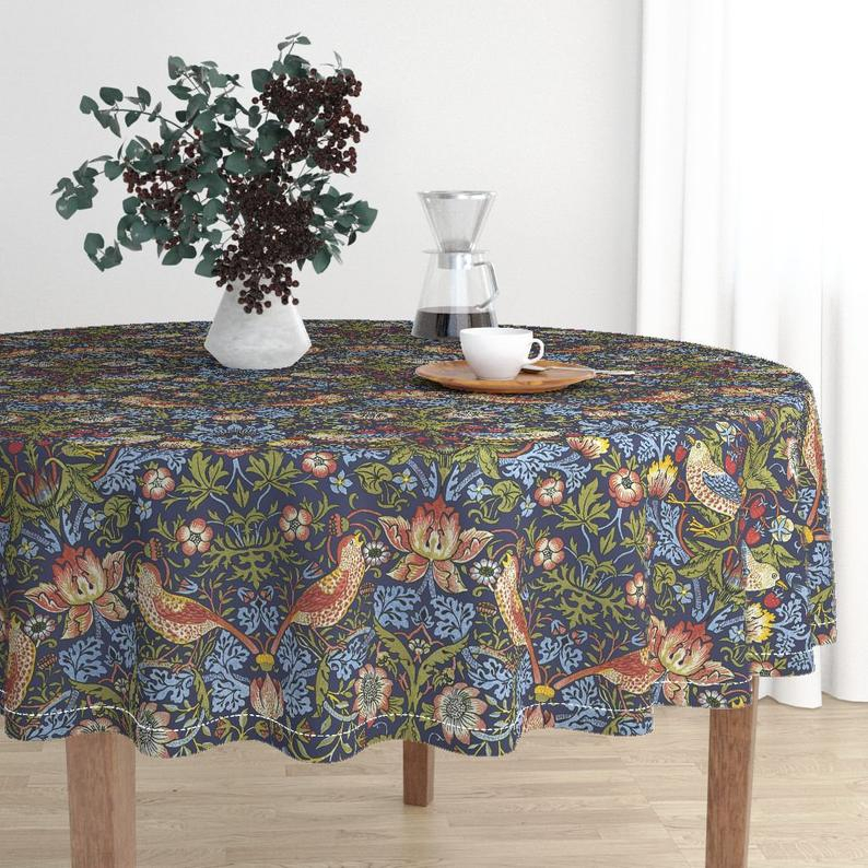 Morris Round Dining Tables For Latest Round Tablecloth  William Morris Strawberry Thiefpeacoquettedesigns   Malay Cotton Sateen Round Tableclothroostery Spoonflower Fabric (#8 of 20)