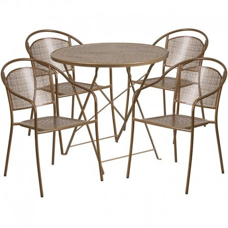 Morris Round Dining Tables With Most Recently Released Morris 30'' Round Gold Indoor Outdoor Steel Folding Patio Table Set With 4  Round Back Chairs (#12 of 20)