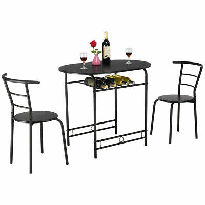 Most Current 3 Pieces Dining Tables And Chair Set Pertaining To 3 Pcs Dining Table Set W/1 Table And 2 Chairs Home (View 16 of 21)