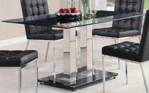 Most Current Chrome Dining Tables With Tempered Glass Pertaining To Dining Table With Tempered Glass Top In Chrome Finish (#9 of 20)