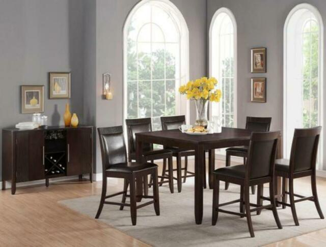 Most Current Espresso Finish Wood Classic Design Dining Tables With Classic Wood Veneers White Leatherette Dining Room Set7Pc Crown Mark Ariana   (#16 of 20)