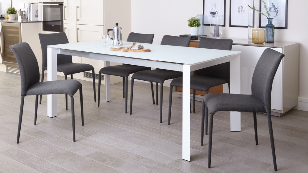 Most Current Eve White Frosted Glass Extending Dining Table Pertaining To Frosted Glass Modern Dining Tables With Grey Finish Metal Tapered Legs (#13 of 20)