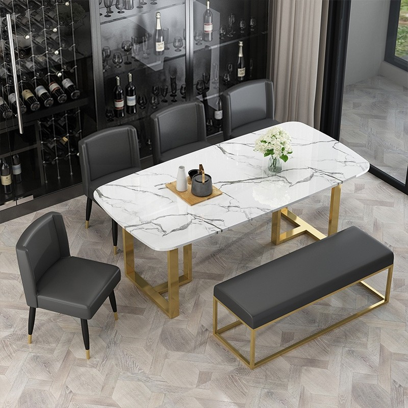 Most Current Faux Marble Finish Metal Contemporary Dining Tables With Regard To Modern Elegant Dining Table With Faux Marble Top & Metal Legs Single Piece  Rectangular Kitchen Table Small/medium/large In Gold (#14 of 20)
