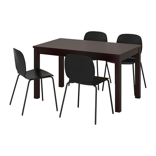 Most Current Laneberg / Svenbertil Table And 4 Chairs, Brown, Black Black Throughout Small Dining Tables With Rustic Pine Ash Brown Finish (View 13 of 20)